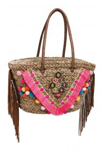 Basket decorated with beads, fringing and a pink stripe - IRIS PINK