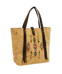 Beige tote bag with beads - MYRTILLE BEIGE
