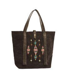Black tote bag with beads - MYRTILLE BLACK