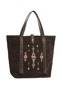 Black tote bag with beads - MYRTILLE BLACK