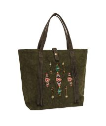 Khaki canvas tote bag with beads - MYRTILLE KAKI