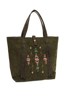 Khaki canvas tote bag with beads - MYRTILLE KAKI
