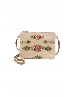 Embroidered beige purse with strap - PATTY BEIGE