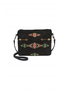 Embroidered black purse with strap - PATTY BLACK