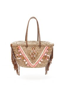 Woven straw basket with tassels and fringing - PORTO VECCHIO NUDE