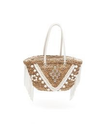 Woven straw basket stitched with white tassels - PORTO VECCHIO OFF WHITE