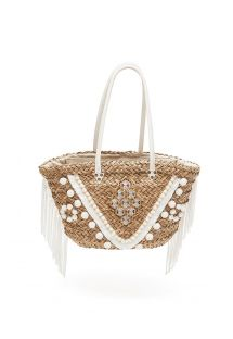 Woven straw basket stitched with white tassels - PORTO VECCHIO OFF WHITE