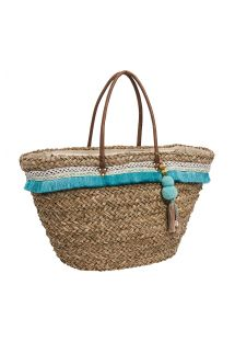 Straw basket with a blue fringe - RITA BLUE