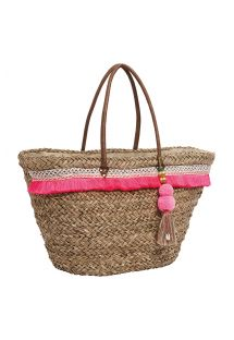 Straw basket decorated with a pink fringe - RITA PINK