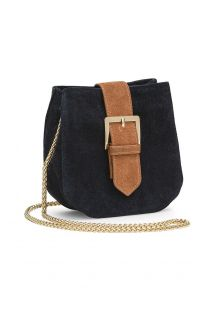 Small blue suede bag with gold chain - SAVANE NAVY