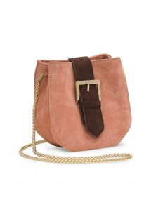 Small nude-pink suede bag with gold chain - SAVANE NUDE