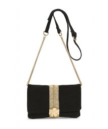 Black suede clutch with strap - STARLET BLACK