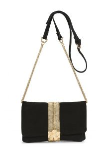 Zwarte suède clutch met band - STARLET BLACK