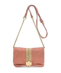 Pink suede clutch with strap - STARLET NUDE