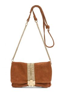 Rust-coloured suede clutch with strap - STARLET RUST