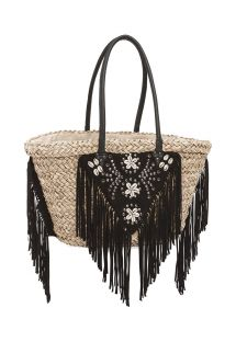 Straw basket decorated with black suede fringing - SUZY