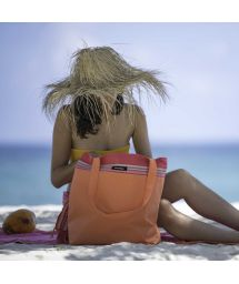 Soft orange / dark pink cotton kikoy bag - KIKOY BEACH BAG CARNAC