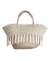 Hand-made beach basket, fringing and crochet - PANIER RIO BLANC
