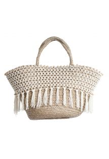 Hand-made beach basket, fringing and crochet - PANIER RIO BLANC