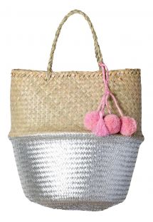Natural/silver woven basket with pink pompoms - PANIER UBUD L SILVER