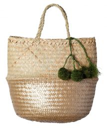 Natural/gold-coloured woven basket with khaki pompoms - PANIER UBUD S GOLD
