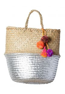Natural/silver woven basket with pompoms - PANIER UBUD S SILVER