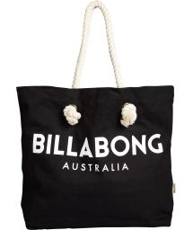 Canvas black beach bag with twisted rope handles - ESSENTIAL BAG BLACK