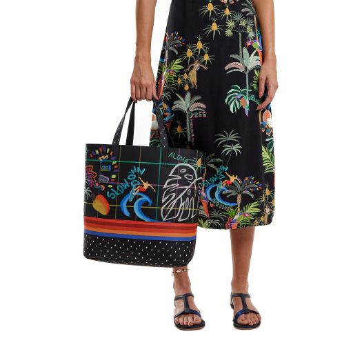 Black beach tote bag with colorful patterns - BOLSA BIG RIDER