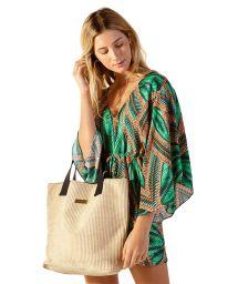 Stylish straw beach bag and black handle - BOLSA GINZA
