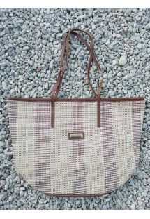 Natural fibre tote bag with pleated leather handles - BOLSA JARDINEIRA PALHA
