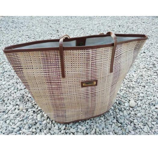 Natural fibre tote bag with pleated leather handles - BOLSA JARDINEIRA PALHA