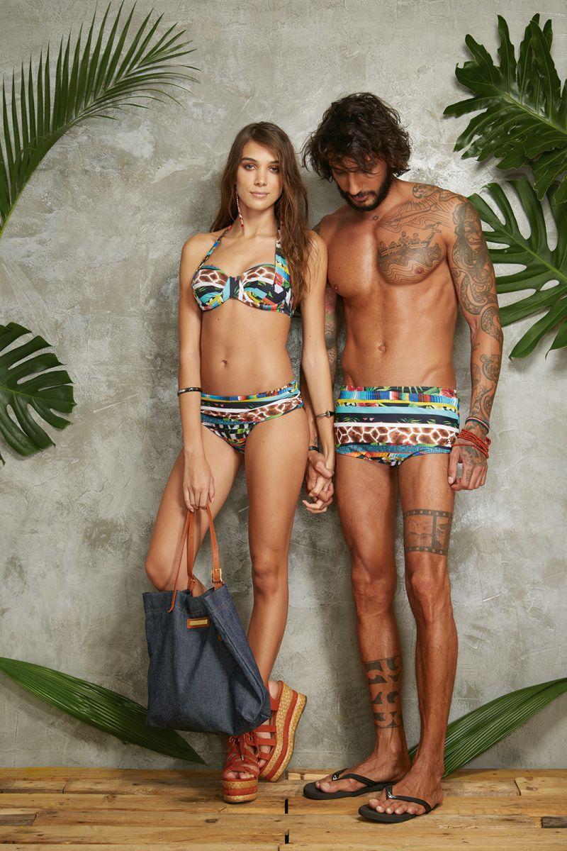 Denim beach tote bag with camel handles - BOLSA JEANS