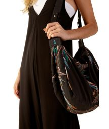 Black beach bag in colorful feathers - BOLSA NANI YAPI