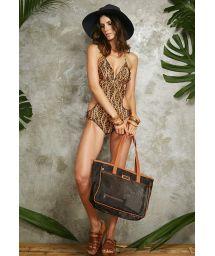 Clear black/camel beach tote bag - BOLSA NEW TELA NOIR