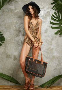 Clear black/camel beach tote bag - BOLSA NEW TELA NOIR