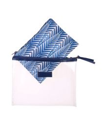 Blue printed kit and plastic pouch - NECESSAIRE KAKA COCARDE