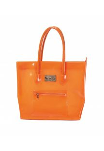 Orange silicone beach bag with zipped pocket - BOLSA NEW BEACH COM ZIPER