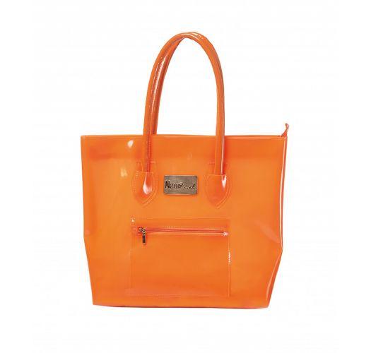 Orange silicone beach bag with zipped pocket - BOLSA NEW BEACH COM ZIPER