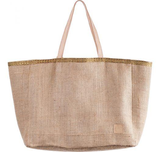 Reversible burlap tote bag with pompons and fringes - CABAS JIM PALMTREE NATUREL