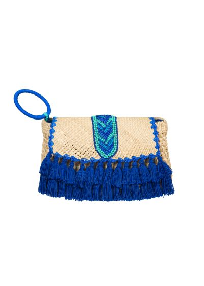 Hand-made pouch pearls and blue pompoms- ALCAMO