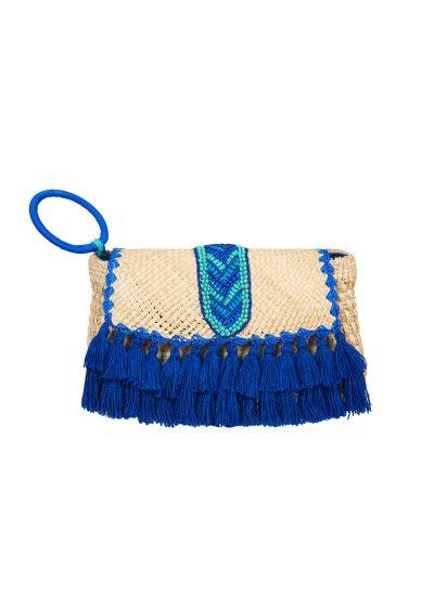 Väska med handgjorda blå pärlor och pompoms - ALCAMO