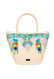 Handcrafted ethnic tote with colourful pom poms - CEFALU