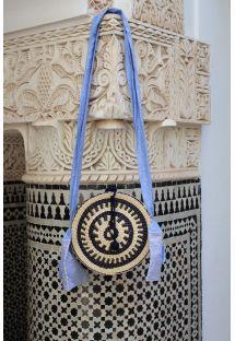 Two-tone cross-body/shoulder bag in fibre, linen strap - DAOURA
