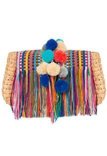 Handcrafted handbag with pom poms and fringes - GELA