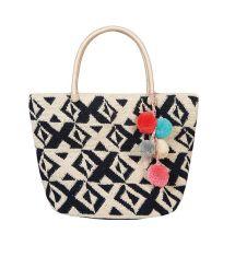 Hand-madebag in white/dark blue crochet - KOH LIPE