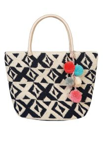 Hand-made bag in white/dark blue crochet - KOH LIPE