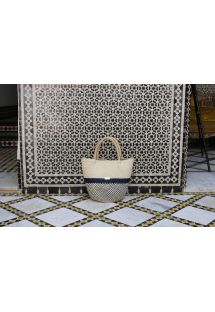 Luxury two-tone bag in woven natural fibre - MAHBES