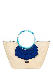 Iraca fibre basket round strap blue pompoms - MARSALA