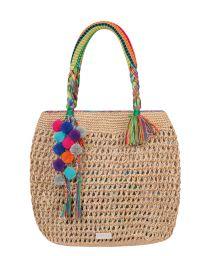 Hand-made beach bag, multi-coloured pom-poms - MOKULUA