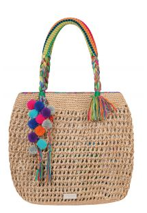 Hand-made beach bag, multi-coloured pom-poms - MOKULUA